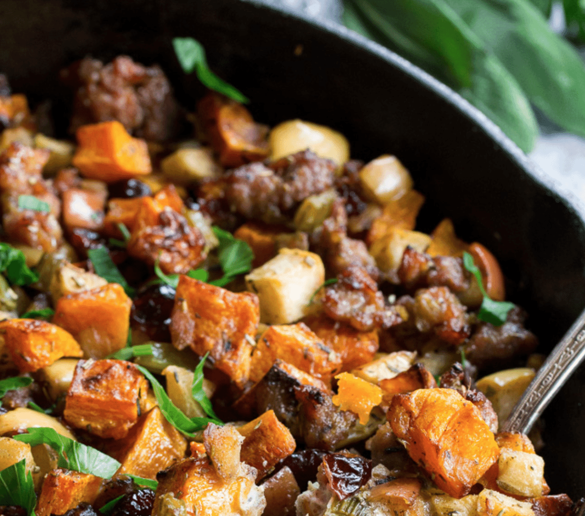 Butternut Sausage Stuffing with Apples and Cranberries